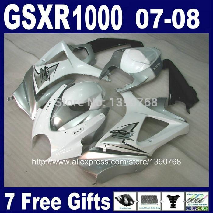 ABS full fairing kit for Suzuki K7 GSXR1000 2007 2008 white silver black bodywork fairings set GSXR 1000 07 08 CB1 +7 gifts motorcycle fairing kit for suzuki gsxr1000 07 08 gsxr 1000 k7 2007 2008 gsxr1000 abs white blue fairings set 7gifts ss01