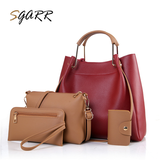 Sgarr Large Capacity Women Pu Leather Handbags High Quality 4 Pieces Set Female Tote Messenger Bags