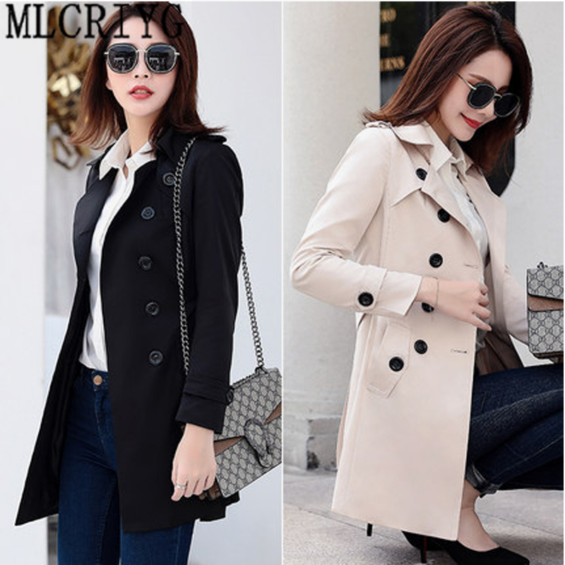 MLCRIYG 2019 New Classic Double Breasted Black   Trench   Coat Women Slim Long Coats Ladies Business Outerwear Plus size 6XL LX308
