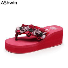 AShwin bohemia flower slipper sandals slip on sandal women summer shoes wedge platform flip flops rhinestones handmade holidays lucyever women shoes flip flops 2018 new summer rhinestones high heel slip on women slipper black blue flip flops size 35 41