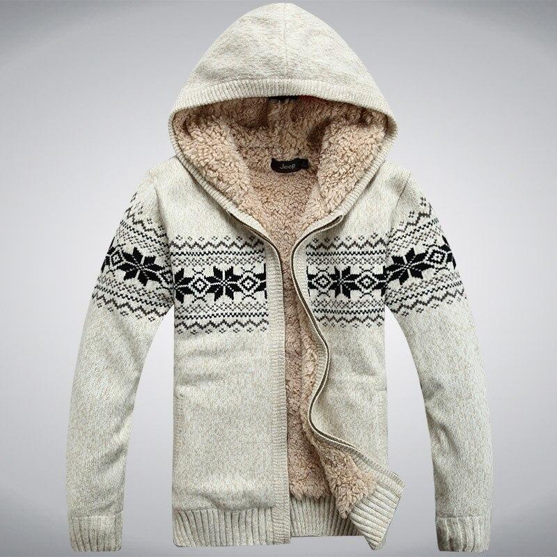Nianjeep hiver épaissir laine polaire homme chandail à capuche hiver Cardigan notre oreille nouvelle mode coton rouge bleu taille M L XL XXL