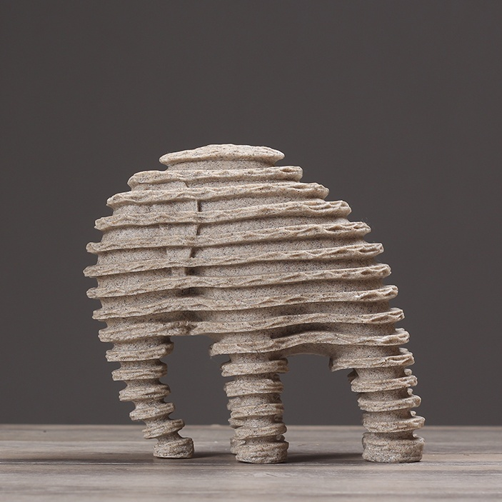 Modern Abstract Elephant Sculpture Resin Sandstone Elephant Statue Ice Age Animal Fossil Art Craft Decor Ornament Accessories
