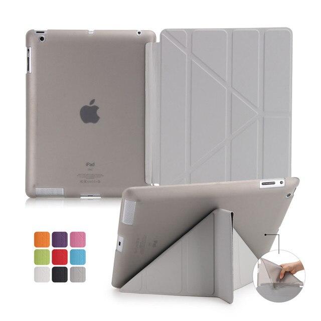 Funda para ipad 2/3/4 2018 Ultra delgada de cuero PU con soporte suave posterior 6 plegable funda inteligente para apple ipad mini 1/2/3 caja de mesa mini