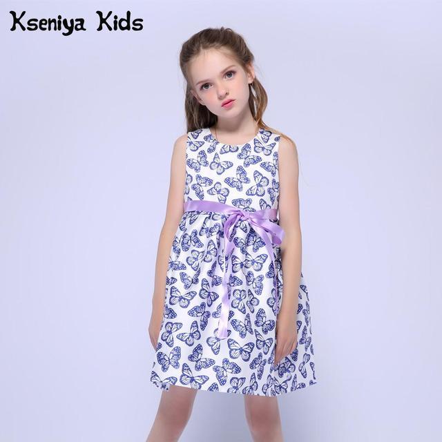 Kseniya Kids 2018 Summer Cute White Baby Girl Cotton Blue Butterfly Print Casual Dress With Purple Belt Kids Dresses For Girls