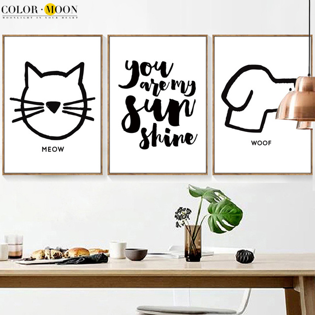 colormoon cat dog quotes nordic poster canvas wall art prints animal