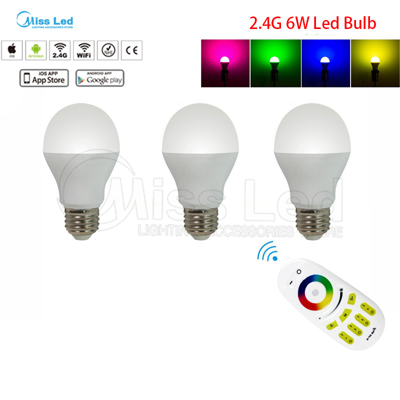3pcs 6W E27 RGB Warm/Cold White Wifi LED Bulb + wifi Remote 2.4G groups control wireless RF Touch for led bulb Light lamp new rf 315 e27 led lamp base bulb holder e27 screw timer switch remote control light lamp bulb holder for smart home