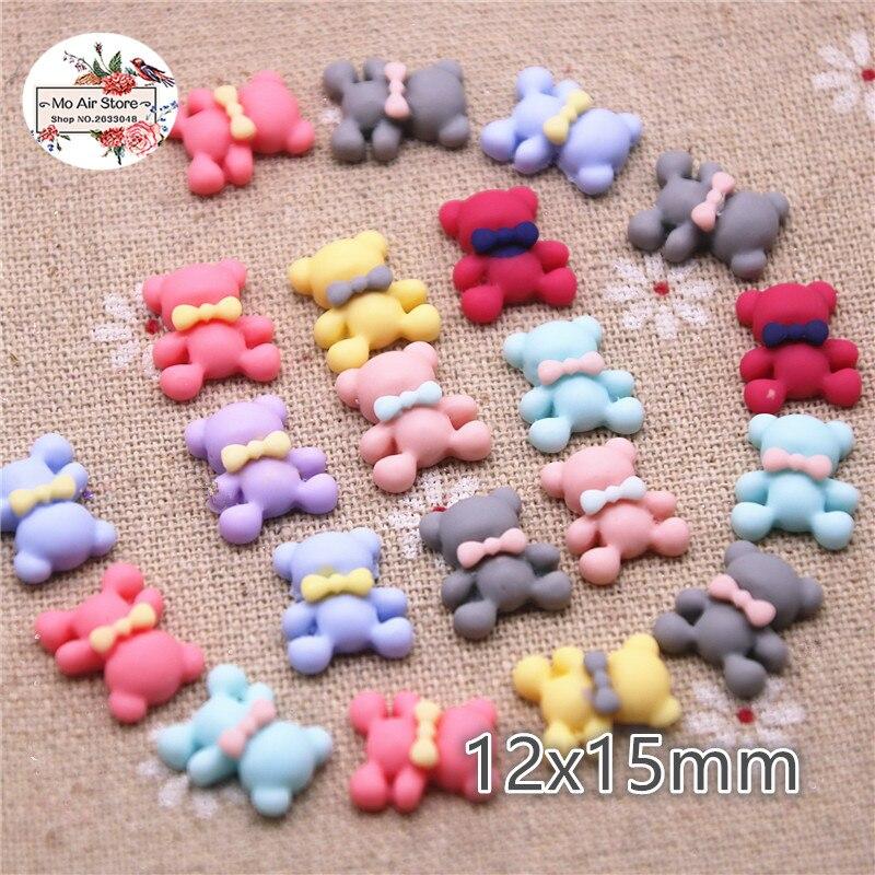 50pcs 12x15mm Mix Color Small Bear Resin Flatback Cabochon DIY Jewelry/phone/nail Art Decoration