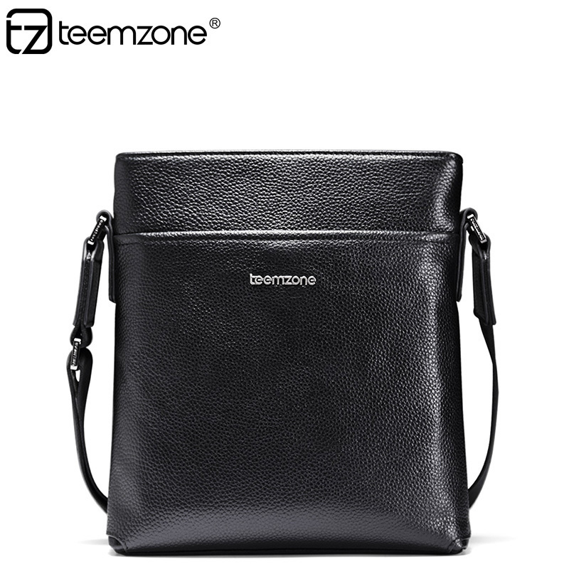 teemzone Mens Minimalist Fashion Black Cowhide Leather Casual Men's Messenger Shoulder bag Michael Korshandbag Sac Homme J30 uxcell kcx2 6 10mm mounting hole dia 2p6t 2 pole 5 way two decks 14pin band channael rotary switch selector