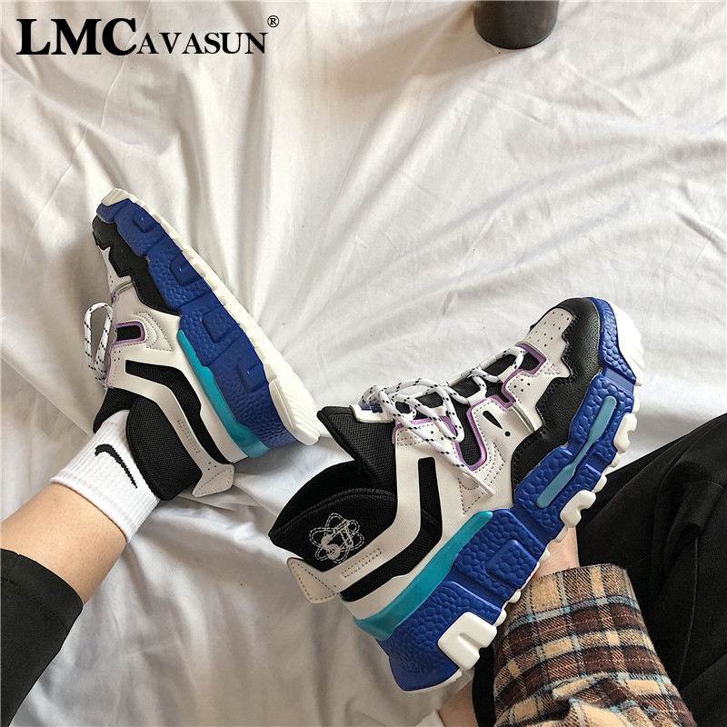 LMCAVASUN Shoes Woman High Platform Sneakers 2019 Spring Female Shoes Casaul White Sneakers Breathable Zapatos Casual Mujer