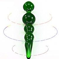 Giocattoli erotici 195*35mm giocattoli del sesso anale palline anali di vetro verde lungo vetro spina anale butt plug giocattoli del sesso per gli uomini gay