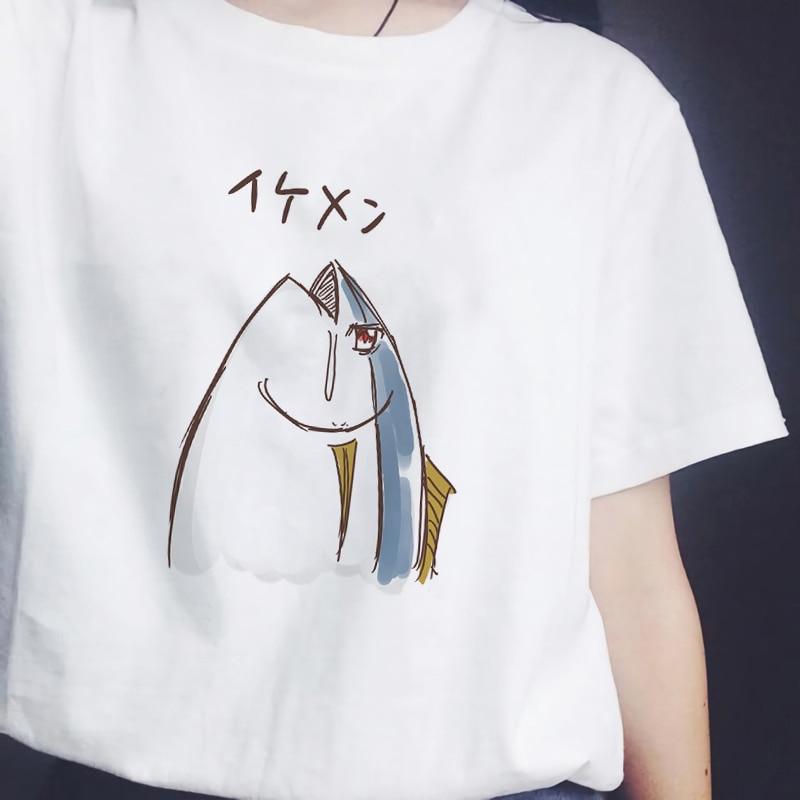 2019 Japanese Fish Harajuku   T     Shirt   Women Funny White   T  -  shirt   Kawaii Fashion Tops Female Tshirt Cotton Streetwear Clothes