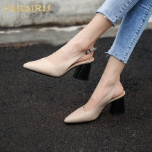 SARAIRIS Genuine Leather Pointed Toe new hot sale Ins Chunky