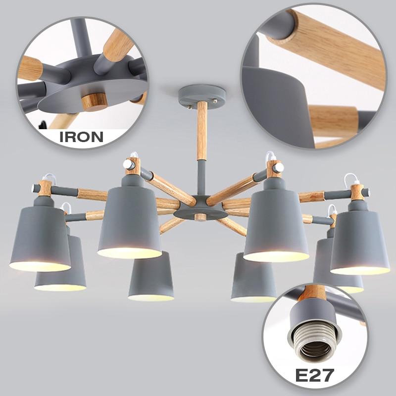chandelier for living room hanging modern pendant ceiling lamps scandinavian Nordic Wood White led suspension luminaire room