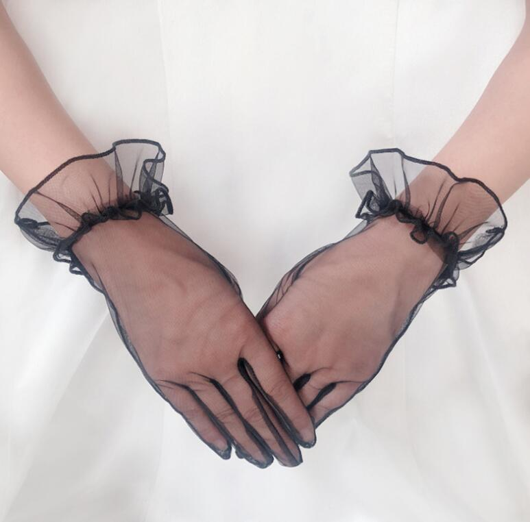 Women's Elegant White Color Mesh Glove Female Spring Summer Sunscreen Transparent Lace Glove R1484