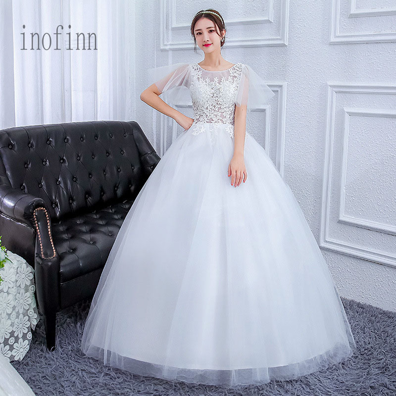 Inofinn Hot Sale Ball Gowns White Tulle Wedding Dresses 2019  Bridal Dress Marriage Customer Made