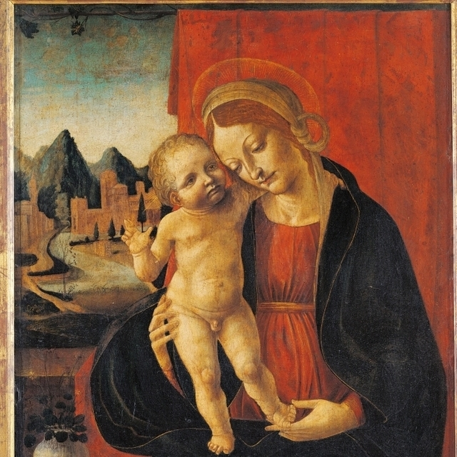 Madonna And Child With Landscape Background Poster Print (18 x 24)