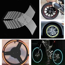 MAYITR 16 Strips White Grey Motorcycle Reflective Wheel Sticker for Car Rim Stripe Wheel Decal Tape
