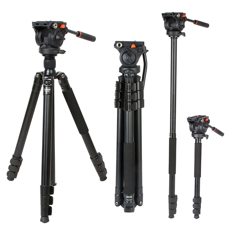 Coman KX3939 Professional Aluminum Camera Tripod 70 inch Video Tripod with 360 Fluid Head for Nikon Canon Camcorder DSLR Camera protable lightweight aluminum camera tripod with rocker arm carry bag for canon nikon sony dslr camera camcorder