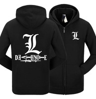 Mens Fashion Winter Autumn Death Note Hoody Black White Gray Color Death Note L Pullover Hoodies