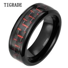 все цены на 8mm Black Ceramic Ring Men Red Carbon Fiber Inlay Engagement Rings Wedding Band Women Rings Comfort Fit Male Fashion Jewelry