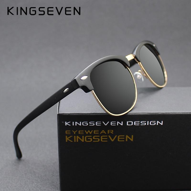 KINGSEVEN 2016 Novos Óculos Polarizados Óculos De Sol Dos Homens Mulheres  Retro Rebite de Alta bbb73c3d48