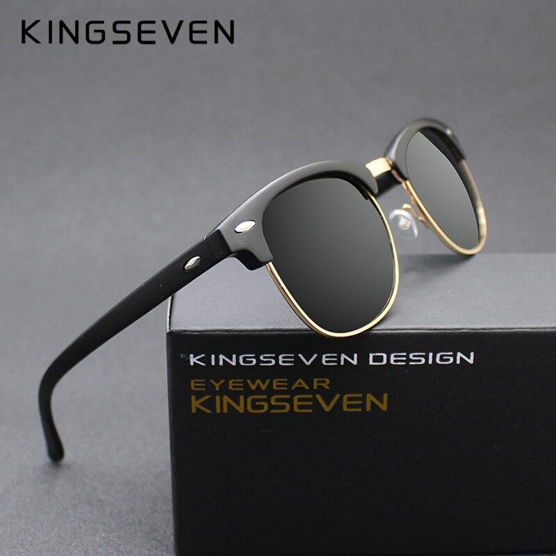 KINGSEVEN 2016 Neue Polarisierte Sonnenbrille Männer/Frauen Retro Niet Qualität Polaroid Linse Marke Design Sonnenbrille Weiblichen Oculos