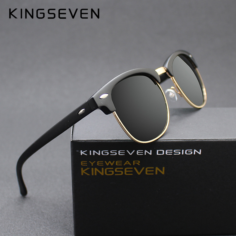 KINGSEVEN 2016 New Polarized Sunglasses Men/Women Retro Rivet High Quality Polaroid Lens Brand Design Sun Glasses Female Oculos