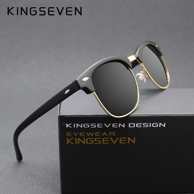 5811dd254f KINGSEVEN 2016 New Polarized Sunglasses Men Women Retro Rivet High Quality  Polaroid Lens Brand Design