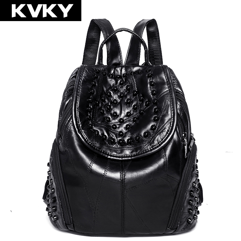 KVKY Brand Women's Backpacks Rivets Genuine Sheepskin Leather Female Backpack Women School Bag For Girls Shoulder Travel Mochila brand bag backpack female genuine leather travel bag women shoulder daypacks hgih quality casual school bags for girl backpacks