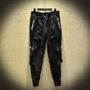 Image 3 - 2020 nuovi Uomini di Modo Pantaloni Stile Harem Hip Hop Fibbie Cinturino Jogging Streetwear Casual Strappato I Pantaloni Cargo Pantaloni ABZ367
