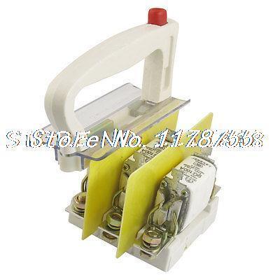 3 Pcs 500V/120KA 660V/50KA 100A Overload Protection Handle Fuse Link w Base 500v 120ka 660v 50ka low voltage blade contact ceramic fuse link nt2 400a