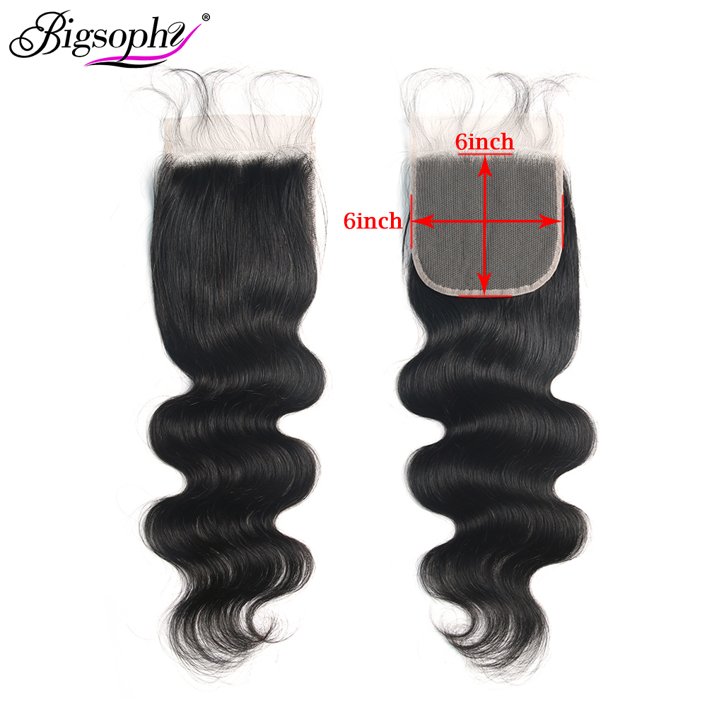 Bigsophy Hair 6x6 Lace Closure Body Wave Peruvian Hair Free Part Closure 100% Human Remy Hair Extension Natural Color Closure(China)
