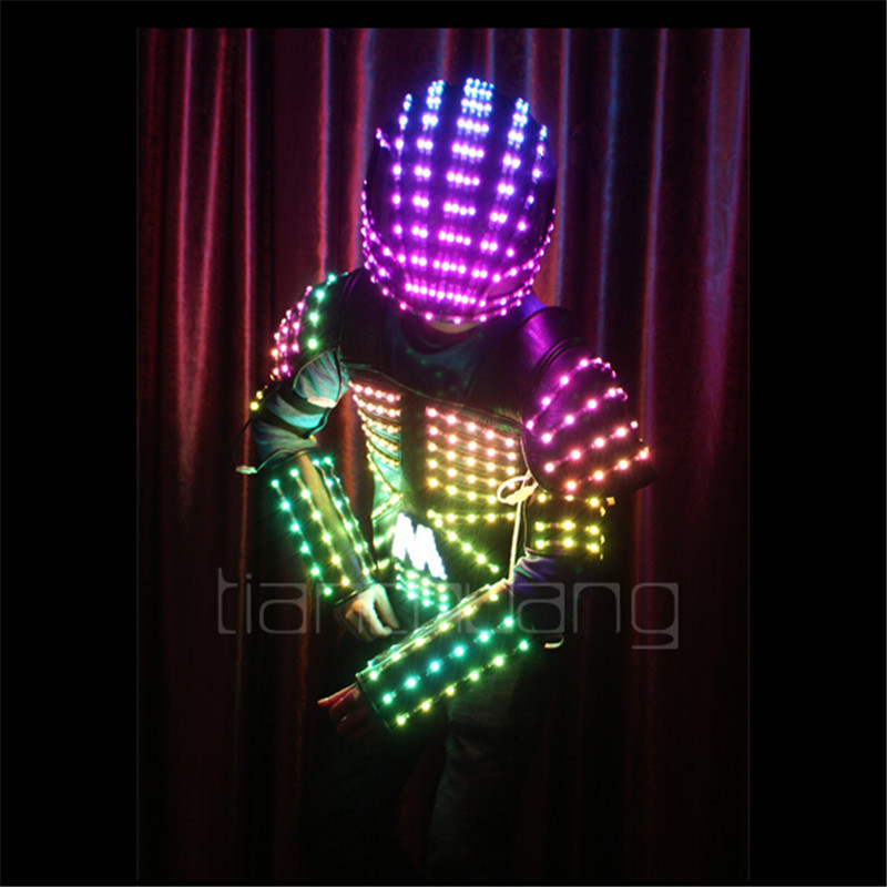 Полноцветный мужской костюм робот, для сценического, клубного, танцевального костюма, Светодиодная панель диско РГБ, одежда для бальных тан