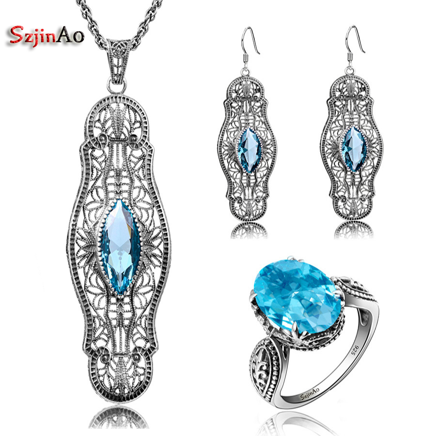 Szjinao High Quality Solid 925 Silver Nigerian Jewelry Set For Womens Aquamarine dding Decoration Luxury Fine jewellery Sets