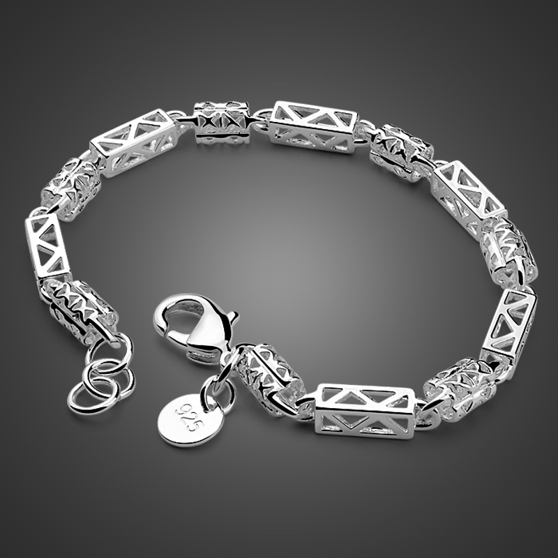 Fashion hollow pattern men's silver <font><b>bracelets</b></font>. Solid 925 sterling silver 5mm <font><b>19cm</b></font> <font><b>bracelet</b></font> for boys with high quality male gifts image