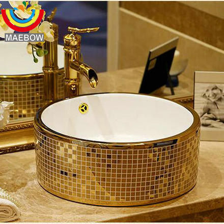 Gold Mosaic Countertop Round Ceramic Bathroom Sink Art