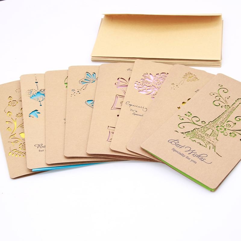 1 Set Of Hollow Valentine's Day Greeting Card / Kraft Paper Card Holiday Cards Birthday Cards Blessing 1 set of hollow valentine s day greeting card kraft paper card holiday cards birthday cards blessing