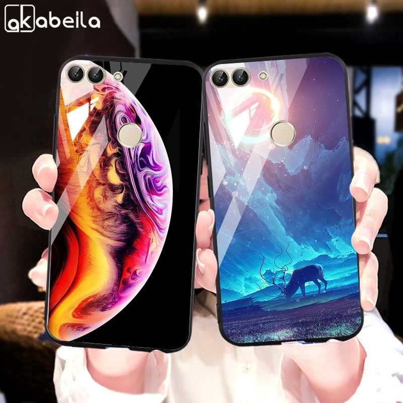 Luxury Tempered Glass Case For Huawei P Smart Case Silicon Nova Lite 2 Protector Cover Huawei Y9 2018 Shell Skin Bags