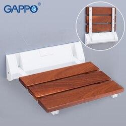 GAPPO ścienny prysznic do montażu naściennego naścienny fotel łazienkowy składane krzesełko do kąpieli krzesła z litego drewna i ABS z tworzywa sztucznego