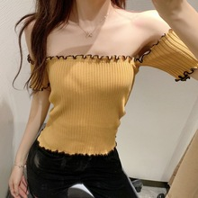 Sexy Slash Neck T Shirt Women Short Sleeve Knitted Ruffles T-Shirt Summer Female T-shirt