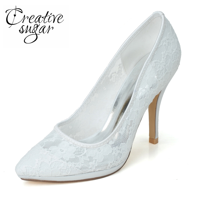 Creativesugar soft pink white black pointed toe lace woman wedding shoes  bridal party prom banquet evening 850c8432f3ec