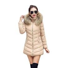 2017 Winter Women Jacket Fashion Long Thick Warm Down Cotton Jacket Women High Quality fake Fur Collar Slim Coat Overcoat Parka