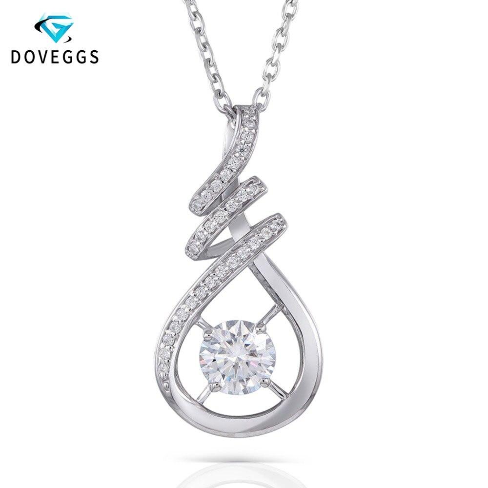 DovEggs Classic 1ct H proche sans couleur Moissanite collier avec Accents platine plaqué 925 Sterling pendentif collier pour les femmes