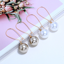 HOCOLE Vintage Pearl Dangle Earrings for Women Gold Color Metal Round Geometric Korean Baroque Drop Earring Jewelry 2019