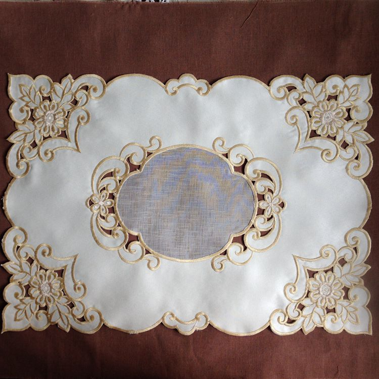 2pcs/Set Embroidered Doilies Cut Working Place Mat Embroidered Table PadTable Runner 30*50cm ...