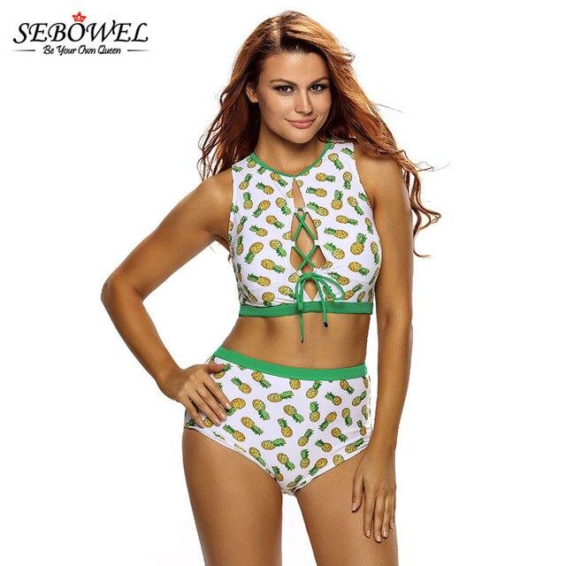 9844b4f600ae € 22.89 |SEBOWEL 2018 Sexy estampado Bikini de piña traje de baño para  mujer de cintura alta con encaje para arriba trajes de baño camiseta sin ...