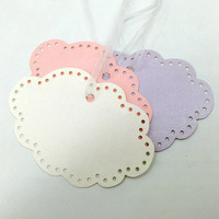 50Pcs Wedding Lovely Cloud Hollow Shape Glass Paper Hang Tag Craft Label Price Gift Card Party