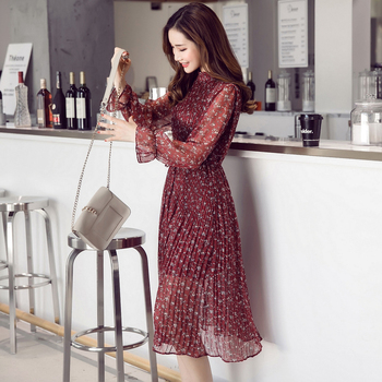 9bb503eedeb Сезон весна-лето  Новинка  женские элегантные модные цветочным принтом  шифоновое платье Длинные рукава  модная повседневная женская обувь .
