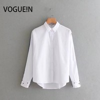 VOGUEIN New Womens Pearls Decoration Long Sleeve Button Down Shirt Blouse Tops Wholesale