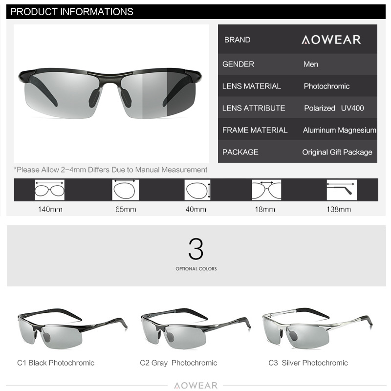 Best Promo #0987 AOWEAR Brand Designer Mens Photochromic